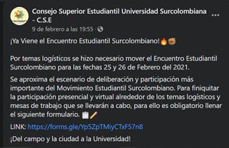 Nuevos detalles del Encuentro Estudiantil Surcolombiano 2021